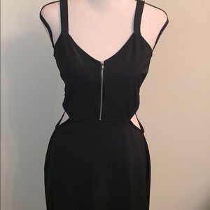 Black Side Cutout Dress with Front Silver Zipper